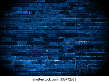 Blue Background of old vintage brick wall