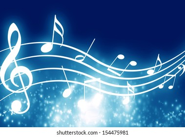 blue background with some music notes on it