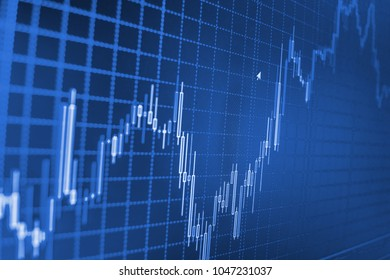 Blue background with stock chart. Background stock chart. financial stock market graph on technology abstract background Stock Market Chart on Blue Background