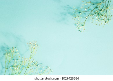 Blue background with twigs gypsophila in the corners. Workpiece for text. Copyspase