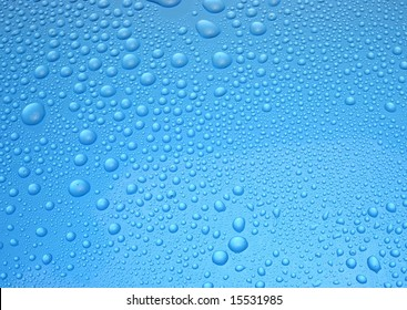 A blue background with water drops