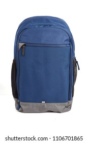 A blue backpack isolated on white background.