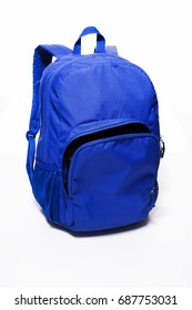 Blue backpack isolated on white background