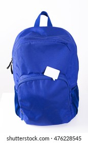 Blue backpack with message bubble. Speech bubble on backpack