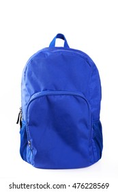 Blue backpack on white background