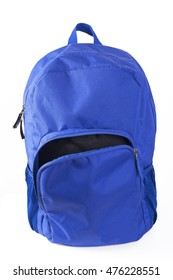 Blue backpack with open pocket on white background