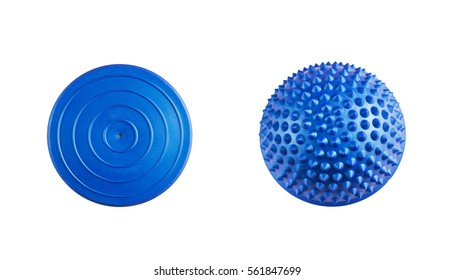 Blue balance and massage ball for fitness and rehabilitation isolated on a white background