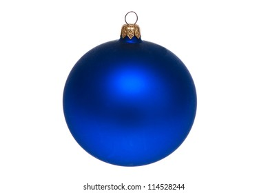 Blue ball. Christmas Christmas decorations. Isolated on white.