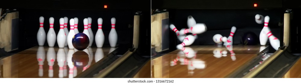 Blue ball knocks down all bowling pins and knocks out a strike. Panoramic image, which is composed of two photos before and after the impact.