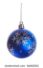 blue ball with snowflakes