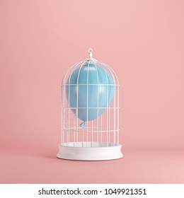 Blue balloon floating in white cage on pastel pink background. minimal idea concept.