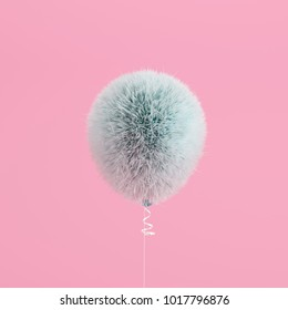 Blue Balloon Fur floating on Pink background. minimal concept idea.