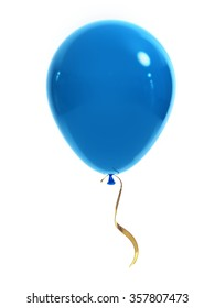 Blue balloon with a gold ribbon on a white background