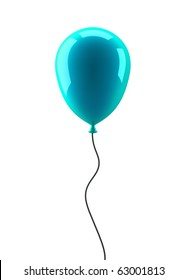 Blue balloon isolated on white background - 3d render