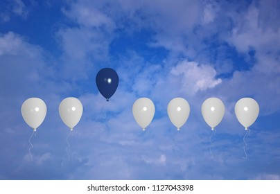 Blue Balloon stands out from a white one. With cloud sky, 3d rendering