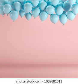 Blue balloons floating in pink pastel background room studio. minimal idea creative concept.