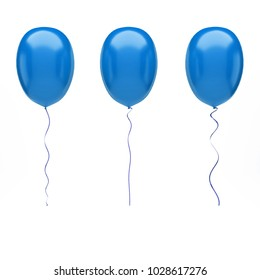 Blue baloons on center isolated on white background. 3D illustration of celebration, party baloons