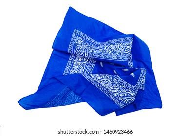 Blue bandana isolated on white