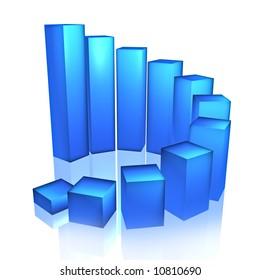 Blue Bar Chart, 3d render