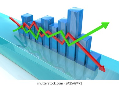 Blue bar chart and arrows depicting growth or fall of profits