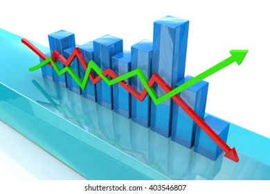 Blue bar chart and arrows depicting growth or fall of profits.3D Illustration