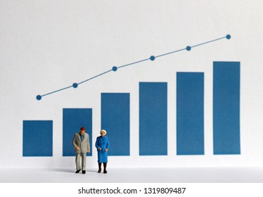 Blue bar graph with flow linear graph. Miniature older people.
