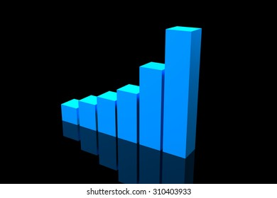 Blue Bar Growing Chart on black