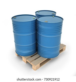 Blue barrels on a pallet (3d illustration)