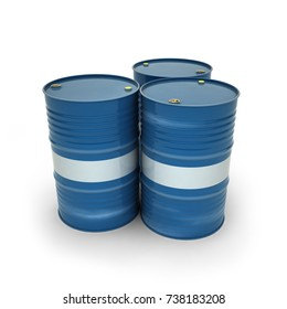 Blue barrels on a white background (3d illustration)