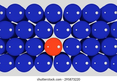 blue barrels with one red - top view
