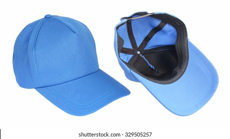 Blue baseball cap isolated on white background lateral and inside viwe