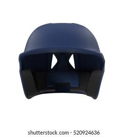 Blue baseball helmet on white. Front view. 3D illustration