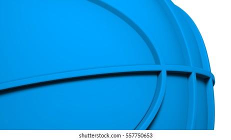 Blue Basketball. 3D illustration. 3D CG. High resolution.
