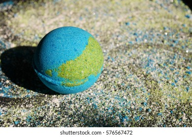 Blue bath bomb, Beauty products for body care, Making bath bomb, close up