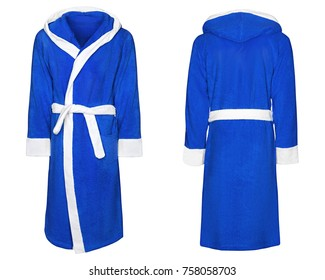 blue bathrobe for home, isolated white background with clipping path.