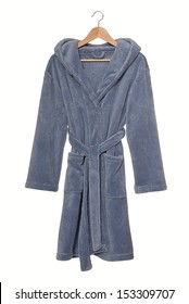 Blue bathrobe on hanger