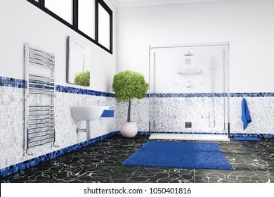 Blue bathroom 3d rendering