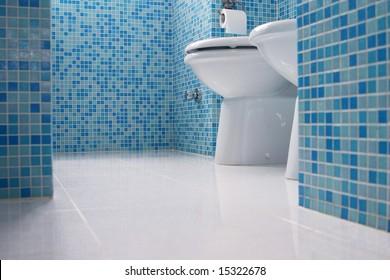 Blaues Badezimmer, Nahaufnahme