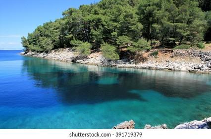 blue bay between Veli- and Mali Losinj, Croatia