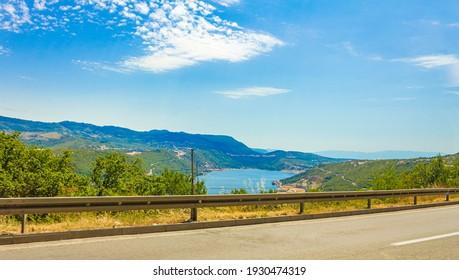 The blue bay and port of Bakarski zaliv in Bakar Croatia. - Shutterstock ID 1930474319