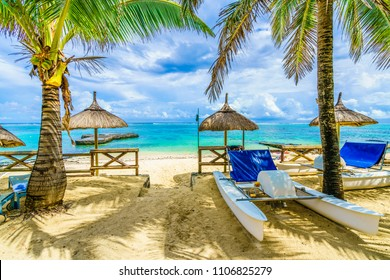 Blue Bay, public beach at Mauritius island, Africa