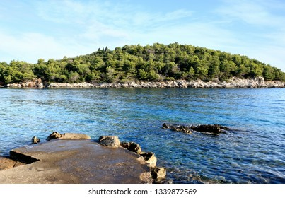 blue bay in Valdarke, island Losinj, Croatia
