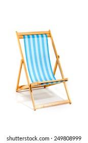 Blue beach chair isolated on white, studio shot
