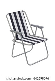 Blue beach chair isolated on white background