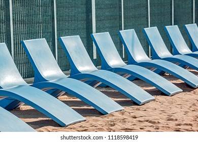 blue beach chairs for relaxing