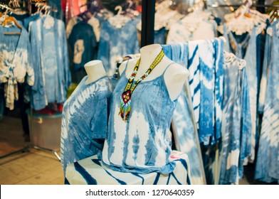 Blue beach dress in night market