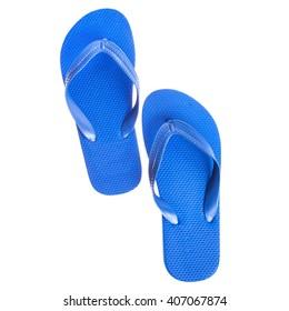 Sandaletten aus blauem Strandkautschuk    einzeln auf weißem Hintergrund