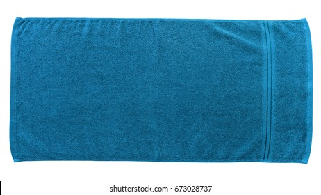 Blue beach towel isolated on white background