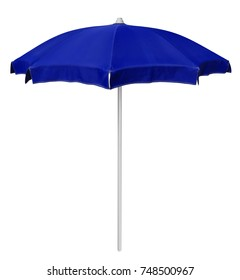 Blue beach umbrella isolated on white. Clipping path included.