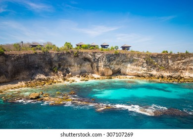 Blue beautiful lagoon at Nusa Ceningan island, Indonesia